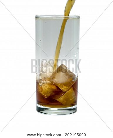 glass of cocktail or tea with ice isolated on white. object beverage.