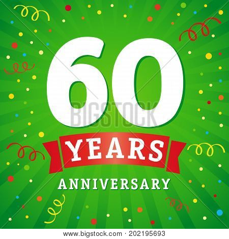 60 years anniversary logo celebration card. 60th years anniversary vector background with red ribbon and colored confetti on green flash radial lines