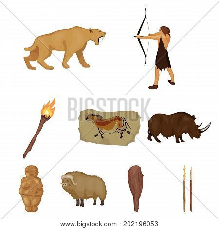 Stone age set icons in cartoon design. Big collection of stone age vector symbol stock illustration