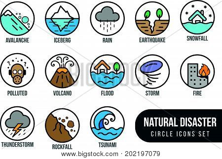 Natural disaster basic circle icon set with tide volcano erupting earthquake flood isolated vector design