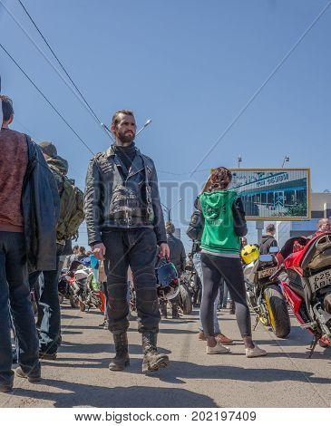 Russia, Orenburg, April 29, 2017. Moto Fans Of Orenburg Gathered Around The Opening Of The Next Moto