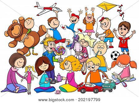 Children Group Playing With Toys Cartoon