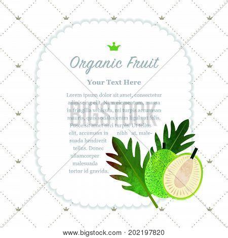 Colorful Watercolor Texture Nature Organic Fruit Memo Frame Breadfruit