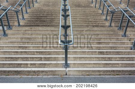 Stone Stairs With Metal Handrails From Below