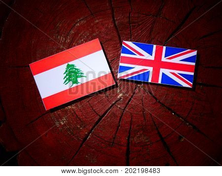 Lebanese Flag With British Flag On A Tree Stump Isolated