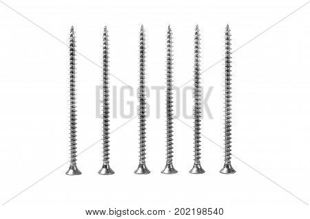 self-tapping screws on a white background.isolated. six self-tapping screws close up on a white background. Objects for house construction.
