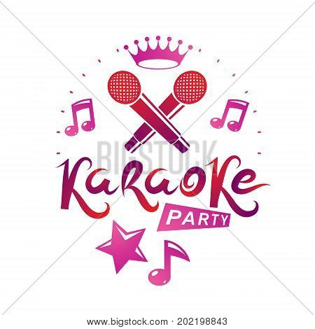 Karaoke party promotion poster design composed using musical notes and pentagonal star. Rap battle concept two stage microphones vector illustration.