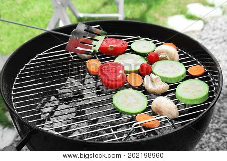 Cooking of appetizing juicy vegetables outdoors