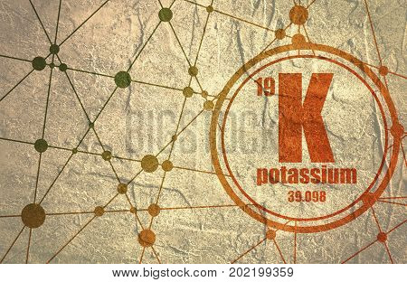 Potassium chemical element. Sign with atomic number and atomic weight. Chemical element of periodic table. Molecule And Communication Background. Connected lines with dots.