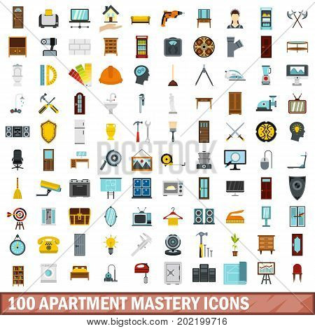 100 apartment mastery icons set in flat style for any design vector illustration