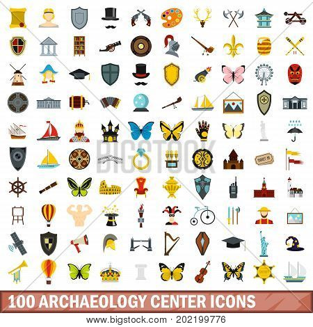 100 archaeology center icons set in flat style for any design vector illustration