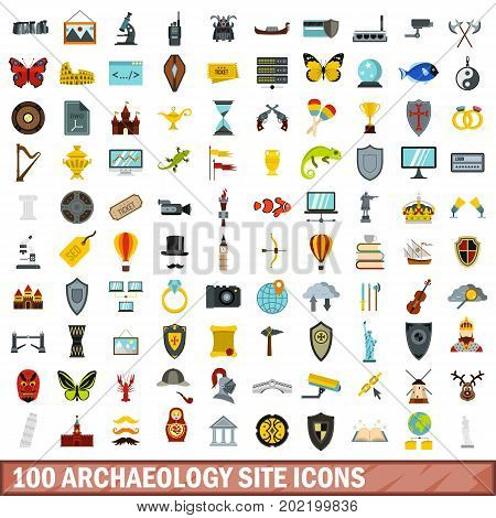 100 archaeology site icons set in flat style for any design vector illustration