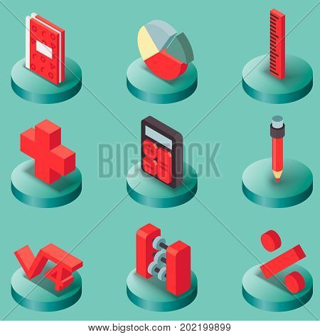 Algebra color isometric icons . Mathematical science. Education and scientific icons set.