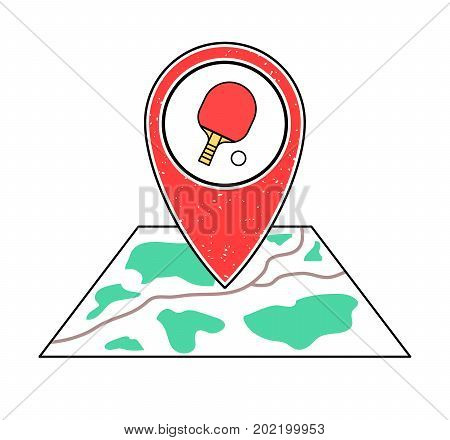 Textured red geotag icon with table tennis racket and ball symbol pointing at a map.GPS navigation.Mobile device smartphone app website vector illustration.Sport game sign. Ping pong place location.