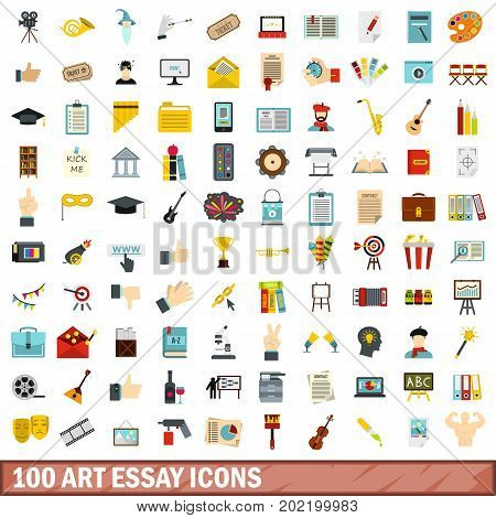 100 art essay icons set in flat style for any design vector illustration