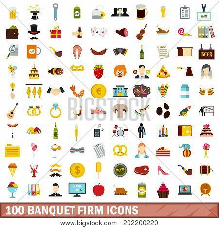 100 banquet firm icons set in flat style for any design vector illustration