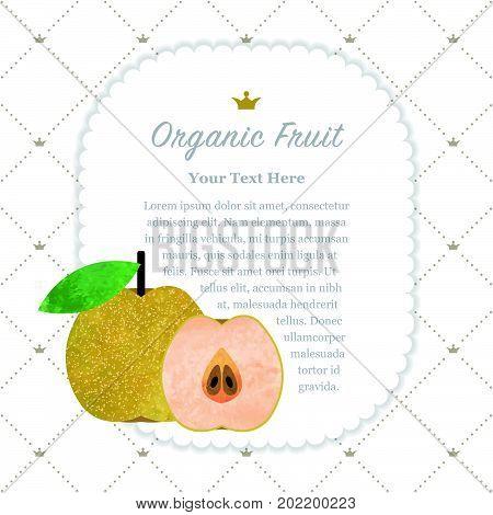 Colorful Watercolor Texture Nature Organic Fruit Memo Frame Asian Pear