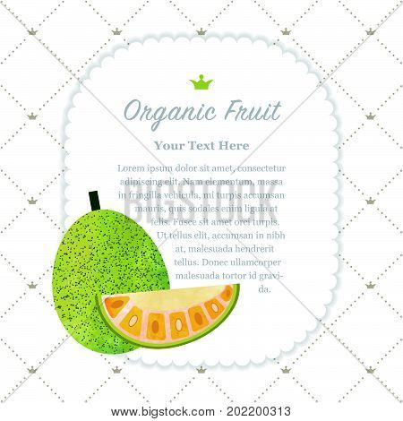 Colorful Watercolor Texture Nature Organic Fruit Memo Frame Jackfruit