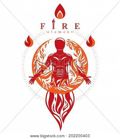 Vector graphic illustration of strong male body silhouette standing. Fire person as bunch of the powerful energy covered with a fireball.