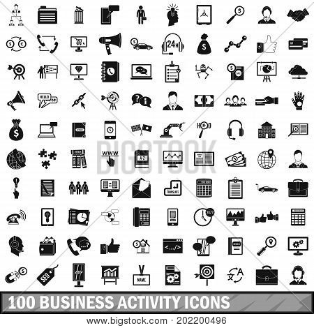 100 business activity icons set in simple style for any design vector illustration