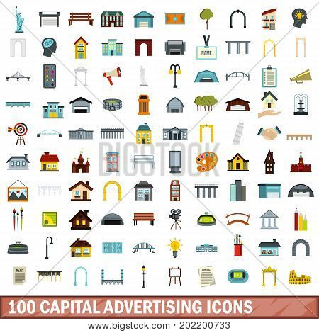 100 capital advertising icons set in flat style for any design vector illustration