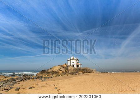 Chapel Senhor da Pedra, Miramar, Atlantic ocean, Portugal.