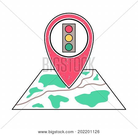 Textured red geotag traffic light symbol pointing at a map.GPS navigation.Mobile device smartphone app website vector illustration. Road warning sign on a city street plan. Stop light signal icon.