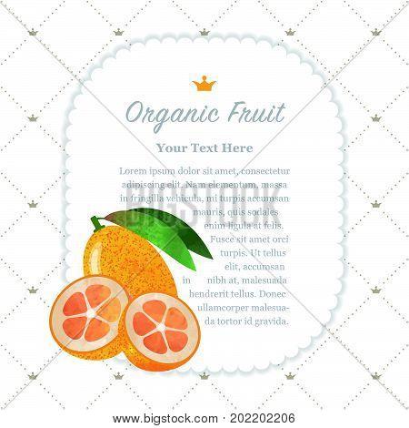 Colorful Watercolor Texture Nature Organic Fruit Memo Frame Kumquat