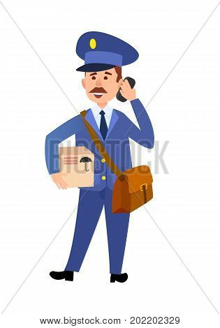 Postman cartoon character in uniform delivering parcel flat vector illustration isolated on white background. Mailman with mailbag holding package and talking on phone. Smiling postal courier icon