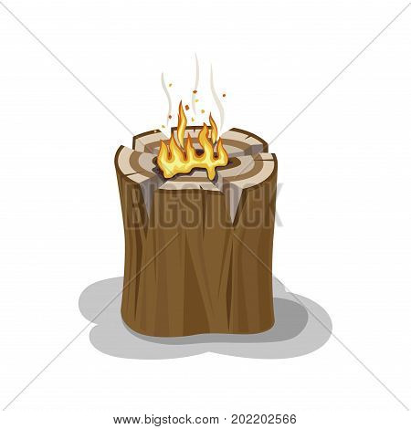 Stump with fire and smoke in center and shadow on white background. Firewood element. Small bonfire into stump isolated illustration. Outdoor pastime on nature. Original way of making bonfire during hike.