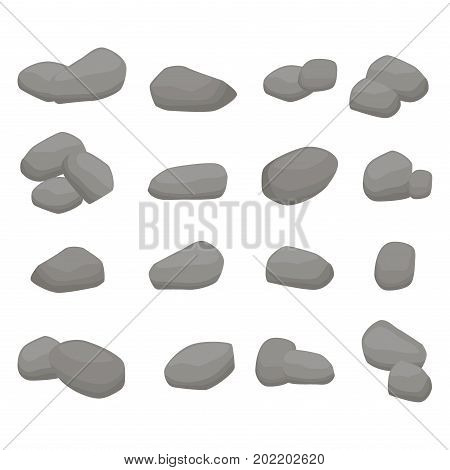 Set Firewood. Sixteen grey stones collection: eight single stones, seven couples of stones and one bunch of three stones on white background. Fencing for fire. Isolated vector illustrations.