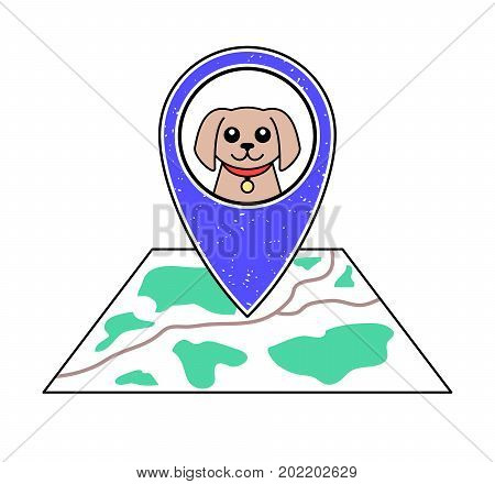 Textured blue geotag icon with dog symbol pointing at a map.GPS navigation.Mobile device smartphone app website vector illustration.Pet shop sign.Animal shelter location on a plan.Vet clinic emblem.
