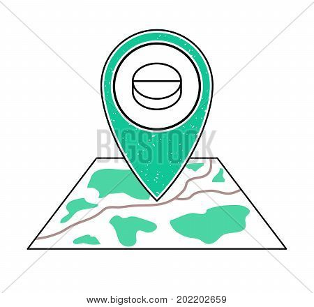 Textured green geotag icon with pill symbol pointing at a map.GPS navigation.Mobile device smartphone app website vector illustration.Drugstore sign. Pharmacy location on a plan. Clinic emblem.