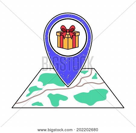 Textured violet geotag icon with ribbon bow gift box pointing at a map.GPS navigation.Mobile device smartphone app website vector illustration.Gift/souvenir shop location on a plan.Party event guide