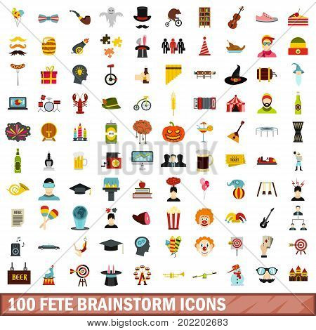 100 fete brainstorm icons set in flat style for any design vector illustration