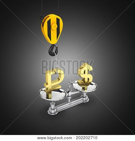 Concept Of Exchange Rate Support Dollar Vs Euro The Crane Pulls The Ruble Up And Lowers The Dollar O