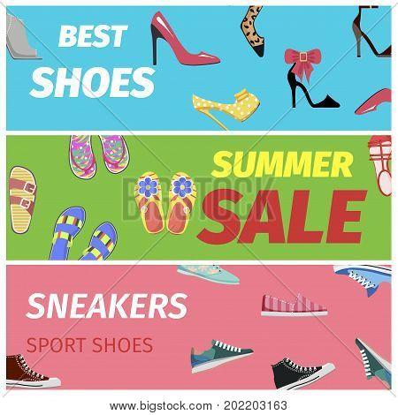 Best summer sale of sneakers sport shoes set of colorful banners. Footwear shopping concept. Elegant high heels shoes, flip flops for walks at beaches and sportive shoes vector illustration