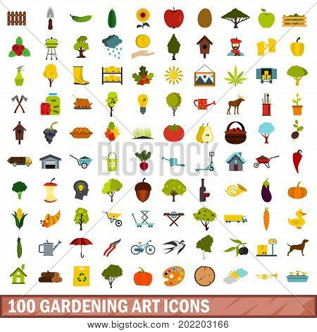 100 gardening art icons set in flat style for any design vector illustration