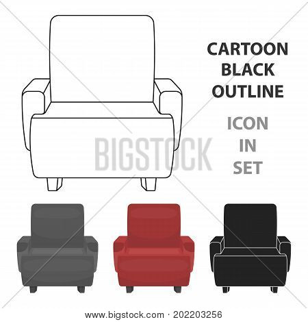 Cinema armchair icon in cartoon style isolated on white background. Films and cinema symbol vector illustration.