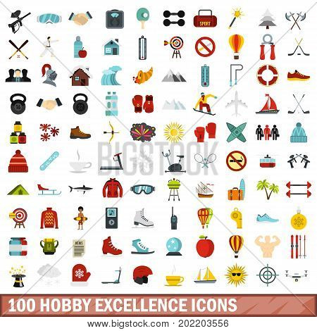 100 hobby excellence icons set in flat style for any design vector illustration