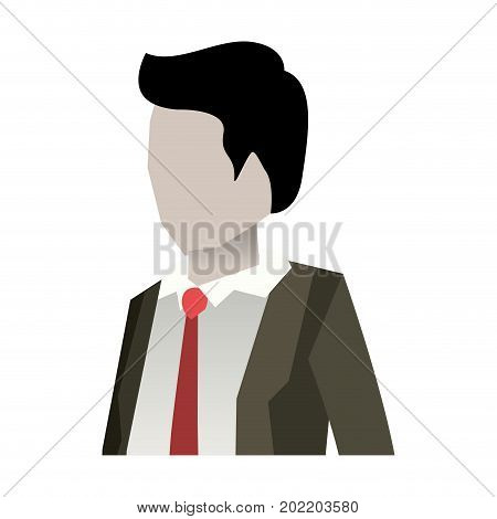 businessman faceless in suit and half body and white background vector illustration