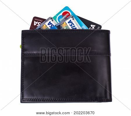 Credit cards in black leather wallet. Studio Photo