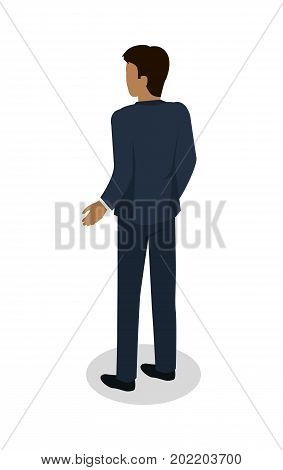 Male in blue business suit standing backwards on white background. Brunette man pushed his hand away from body. Vector illustration flat design. Icon graphic concept for banner, mobile, infographics.