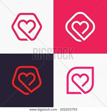 Set Of Linear Heart Icon Love Logo Signs.
