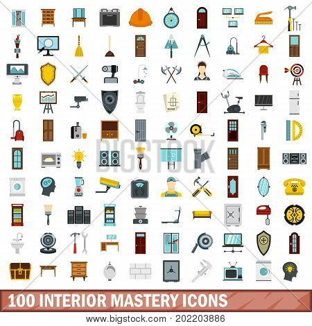 100 interior mastery icons set in flat style for any design vector illustration