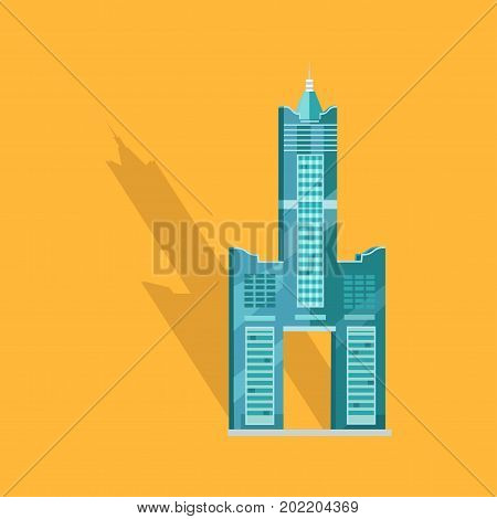 Sky Tower skyscraper Tanteks in Taiwan isolated on yellow. Vector illustration of two separate buildings connecting to each other and holding towering central belfry, beneath which some empty space.