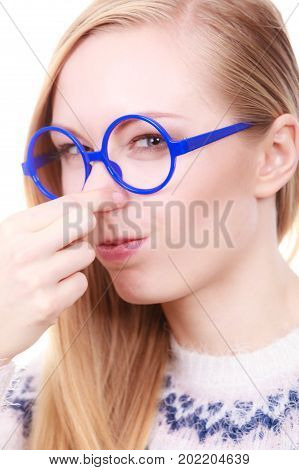 Nerdy Woman Holding Nose Smelling Bad Scent