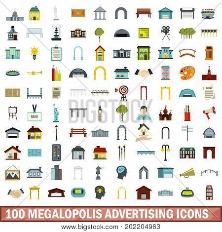 100 megalopolis advertising icons set in flat style for any design vector illustration