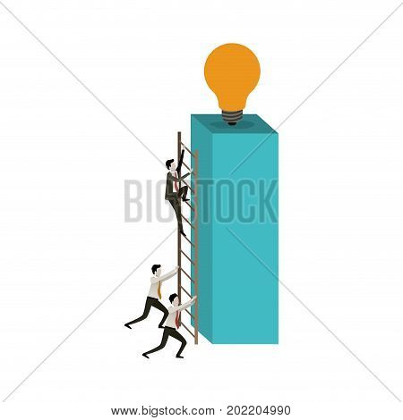 white background with businessmen climbing wooden stairs in a big rectangular block with light bulb in the top vector illustration