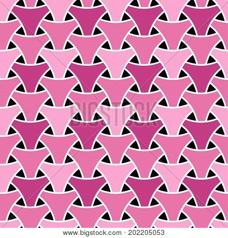 Pink seamless wickerwork triangle surface pattern. Vector graphic. Repeated interlocking white figures on color background.